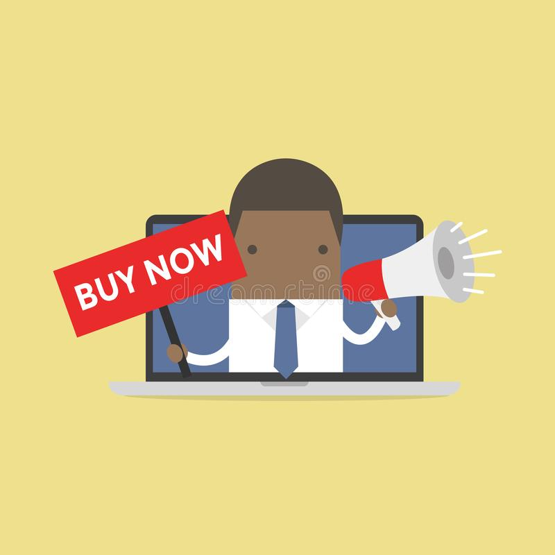 African businessman holding BUY NOW sign and megaphone in computer notebook. Vector royalty free illustration