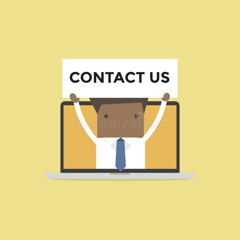 African businessman holding contact us sign in computer notebook. Vector vector illustration