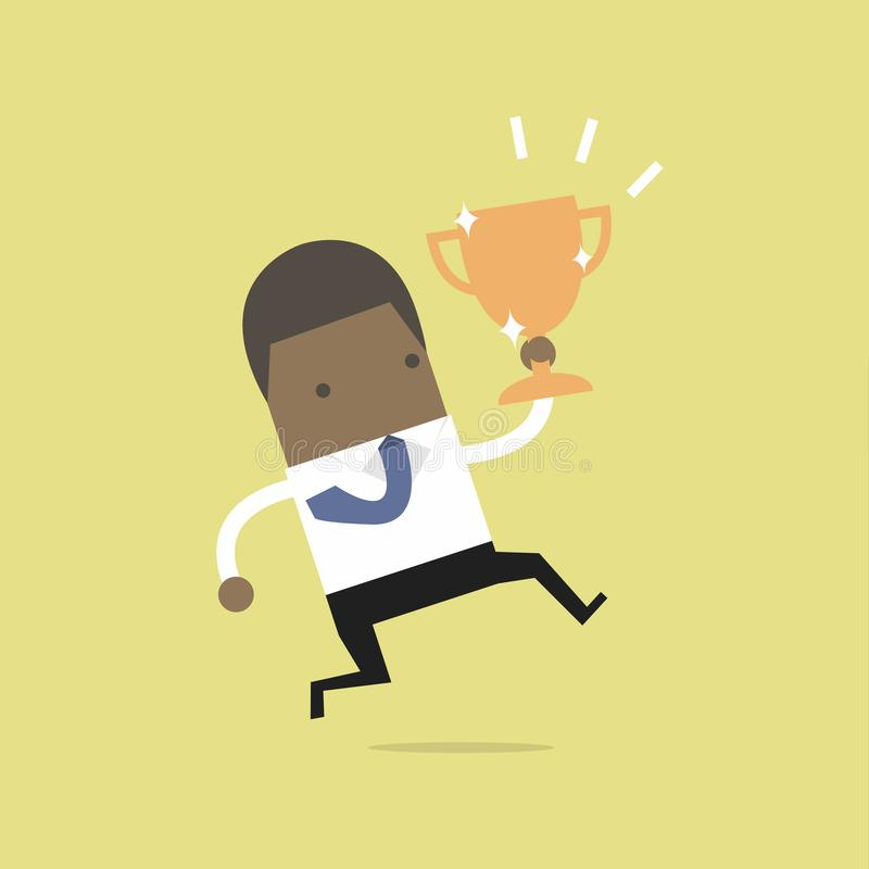 African businessman jumping and holding trophy. stock illustration