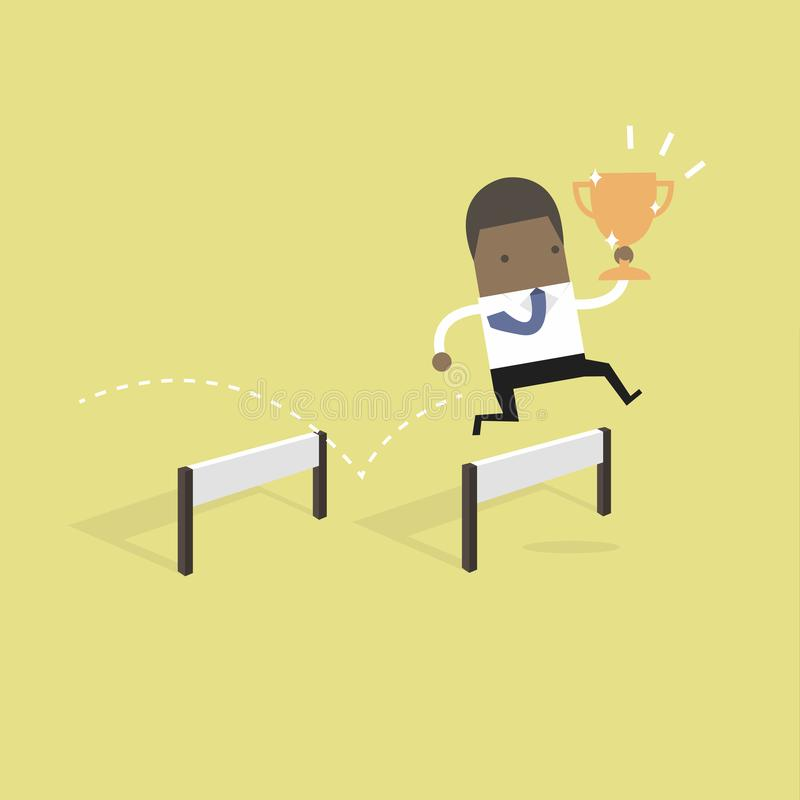 African businessman jumping over obstacle and holding trophy. vector illustration