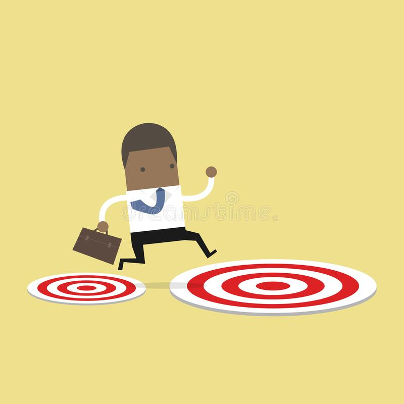 African businessman jumping from small target to the big target. vector illustration