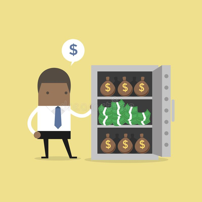 African businessman with a lot of money bags and stacks of dollars in safe. Vector royalty free illustration