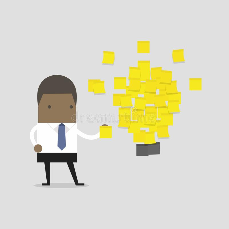 African businessman with a lot of stickers with ideas on the wall. Business project, ideas. vector stock illustration