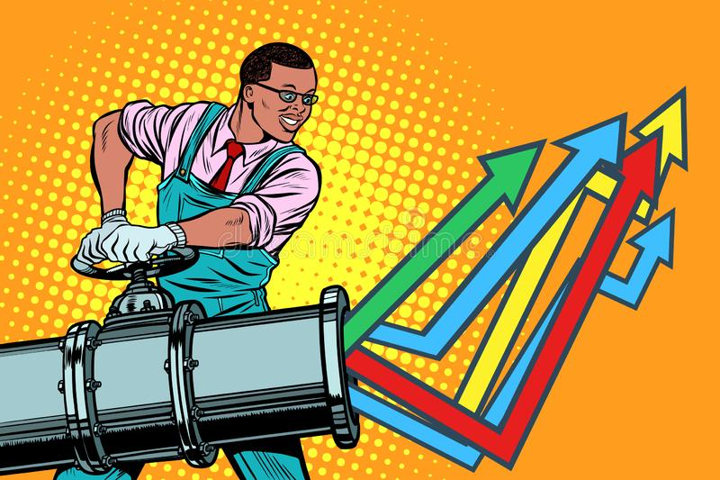 African businessman opens pipe, growth chart up vector illustration