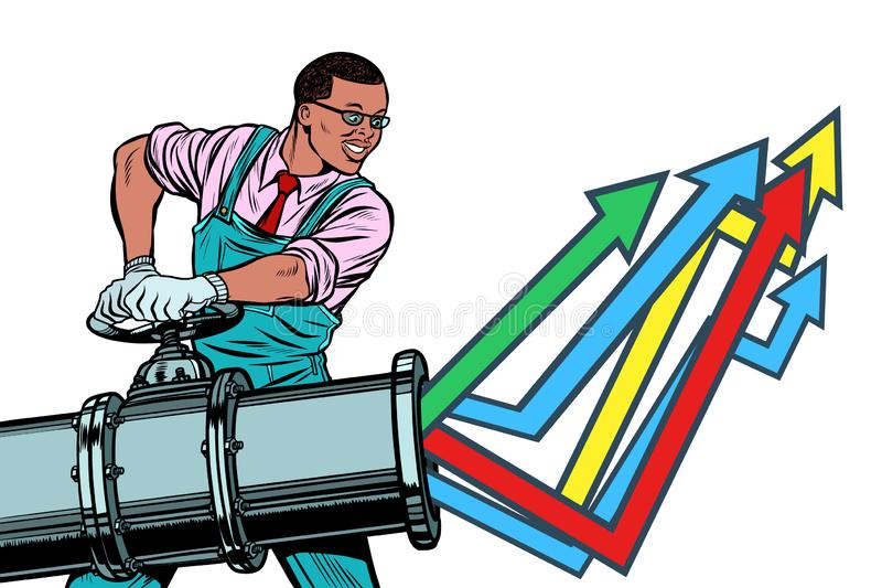 African businessman opens pipe, growth chart up. Isolate on whit vector illustration