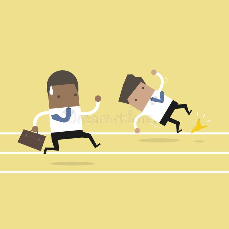 African businessman running with his competitor. Business competition concept. vector illustration