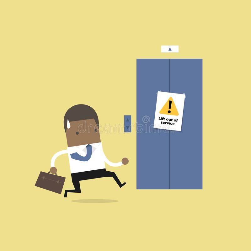 African businessman are running to the elevator. But the elevator is out of service. stock illustration