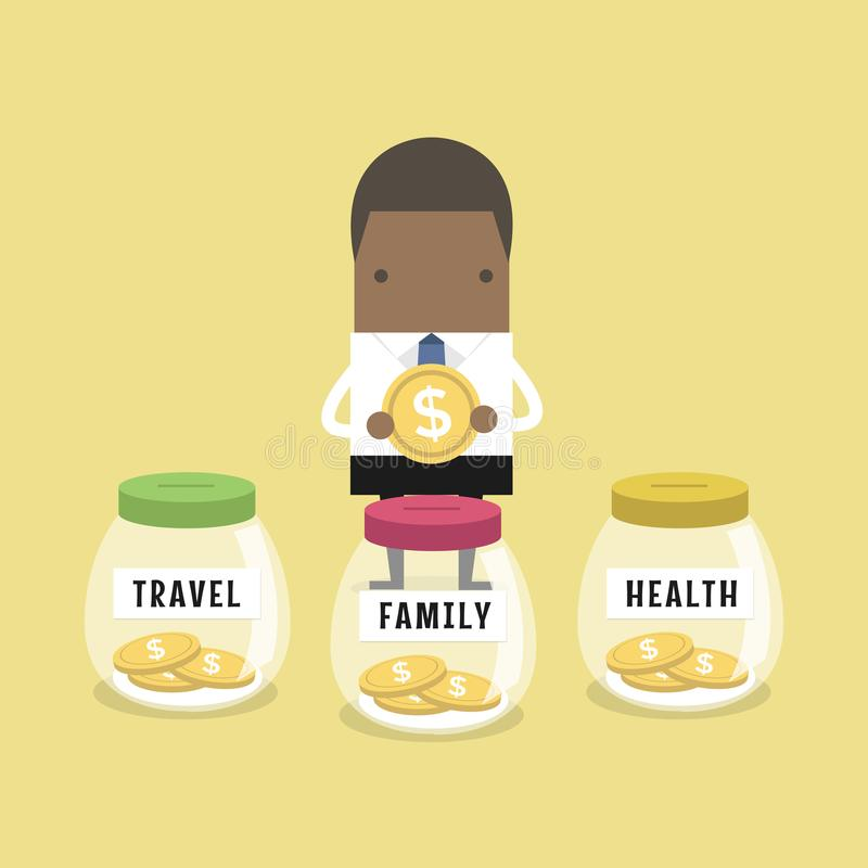 African businessman saving money for Family, Health and Travel. Vector vector illustration