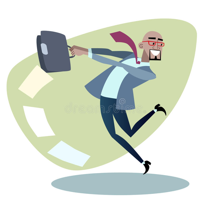 African businessman throws the briefcase with. Papers like a hammer. Business and sport concept black vector illustration