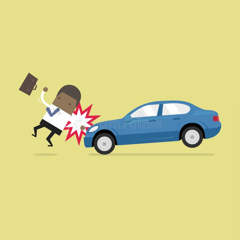 African businessman about to be hit by a car, Road Safety. stock illustration