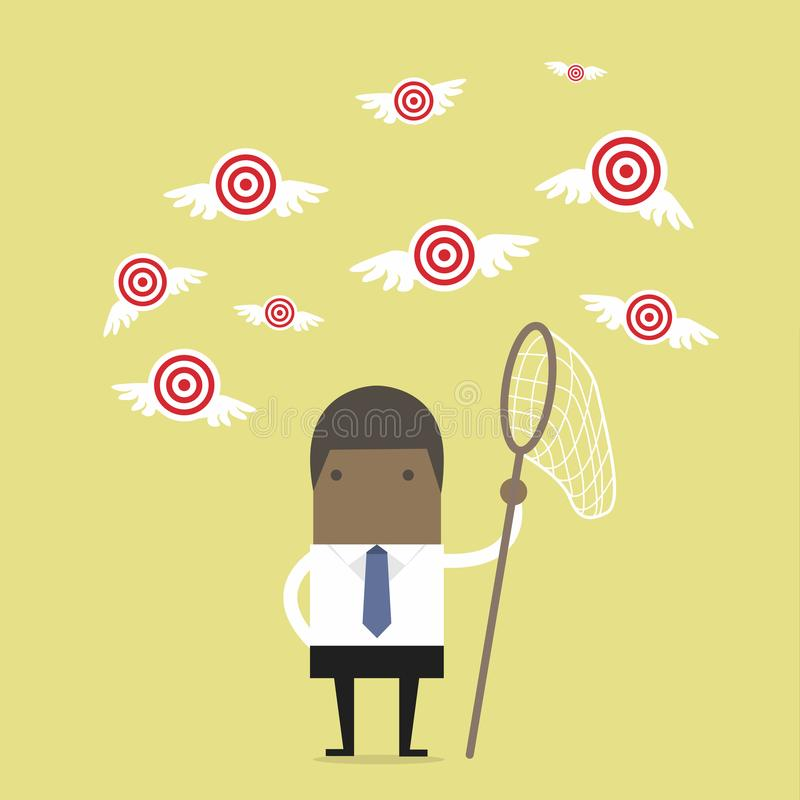 African businessman try to catch flying target. Vector illustration stock illustration