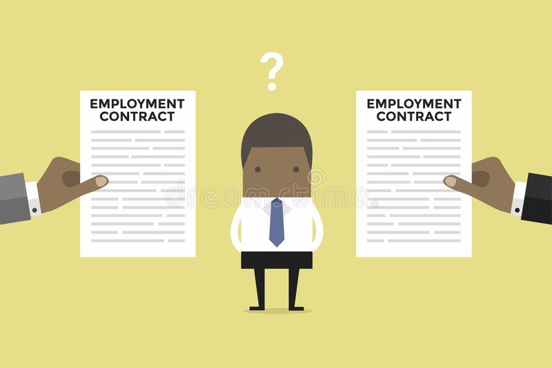 African businessman with two employment contract offer from two companies. Vector illustration vector illustration
