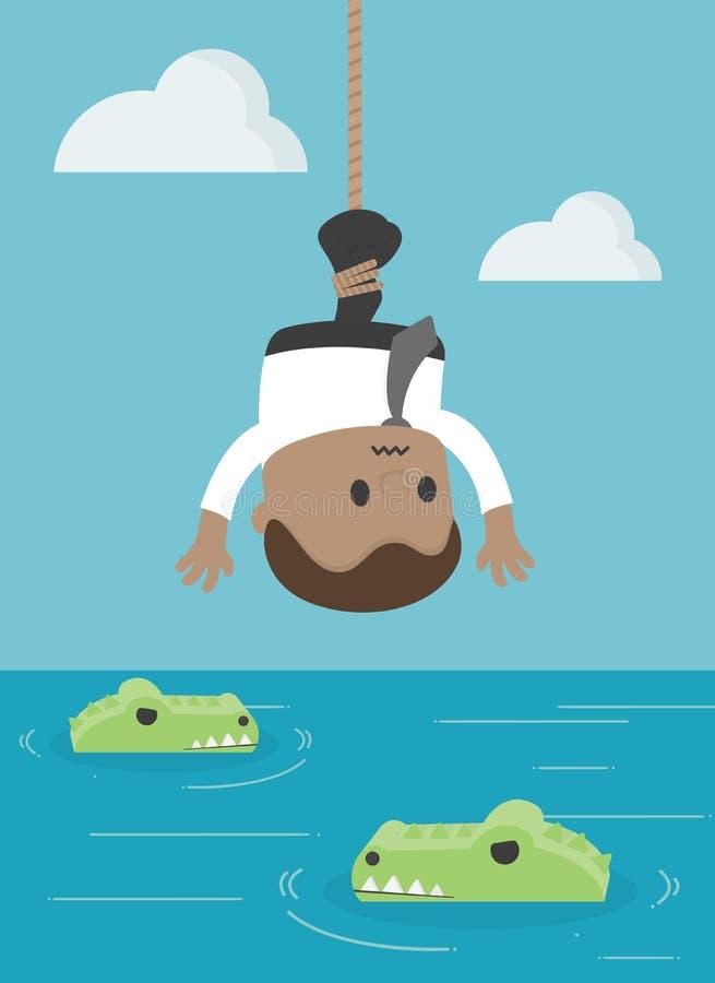 African businessmen arrested as bait for crocodile. Scams, racism, racism vector illustration