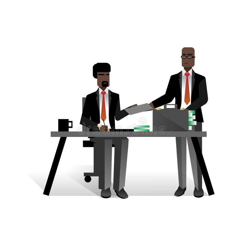 African businessmen conclude a contract. In office. Corporate business people isolated vector illustration royalty free illustration
