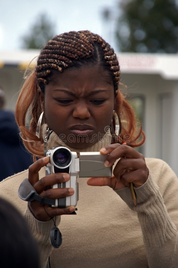 African Camerawoman Royalty Free Stock Photos