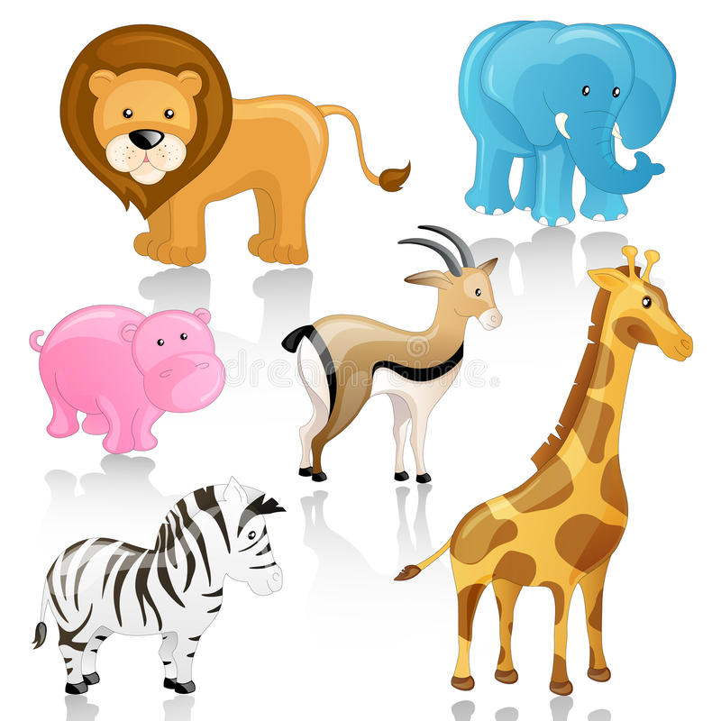 Download African Cartoon Animals stock illustration. Image of lion - 25860258