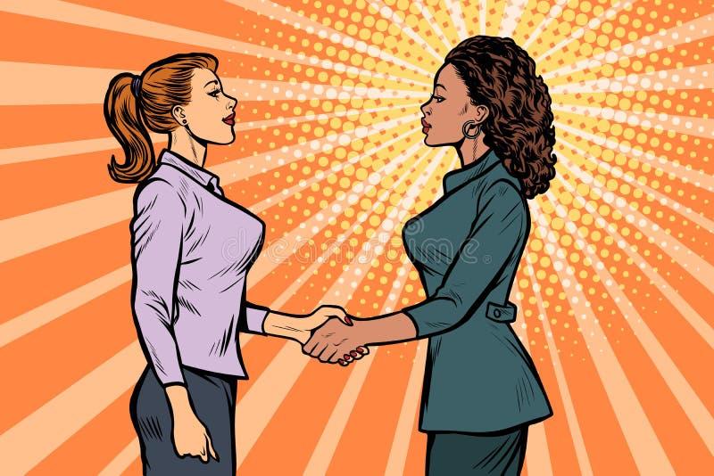 African and Caucasian businesswomen shaking hands. Pop art retro vector illustration vintage kitsch 50s 60s royalty free illustration