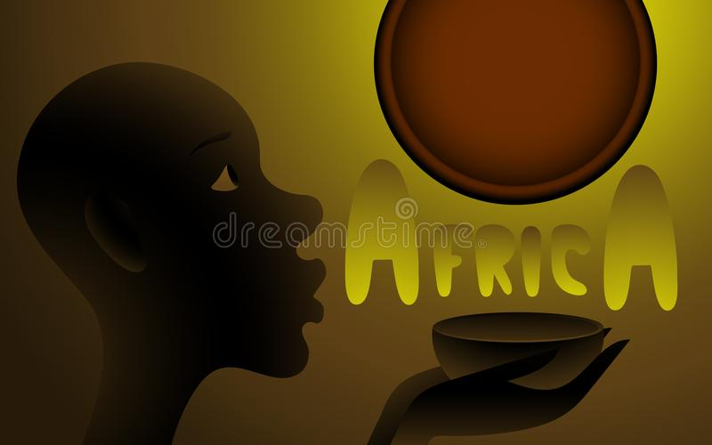 An African child asks for the sky and the sun to give water. He holds up an empty cup in his hand. A dark black and yellow background and a dark red sun royalty free illustration