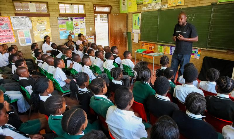 African Children in Primary School Classroom. Johannesburg, South Africa, October 26, 2011, African Children in Primary School Classroom stock photography