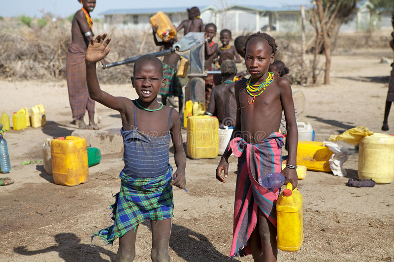 African children and water supply stock photos