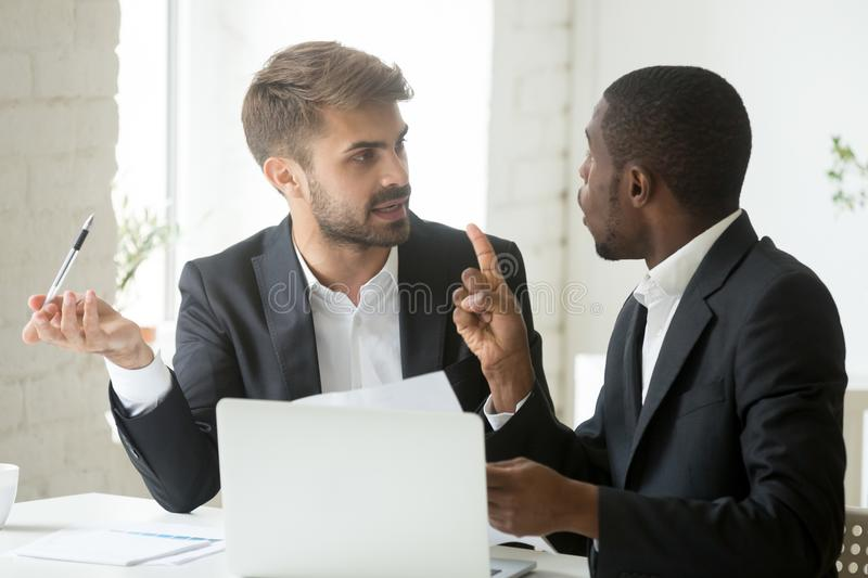 African client having claims about document disagreeing with cau stock photo