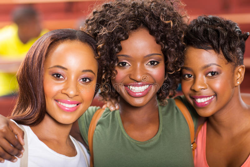 African college friends stock images