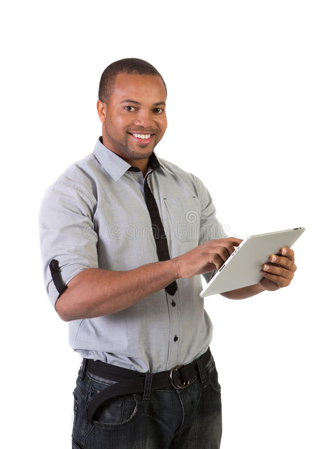 African College Student Holding Touch Pad Royalty Free Stock Images