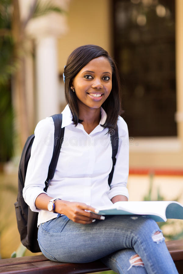 African college student outdoors royalty free stock image
