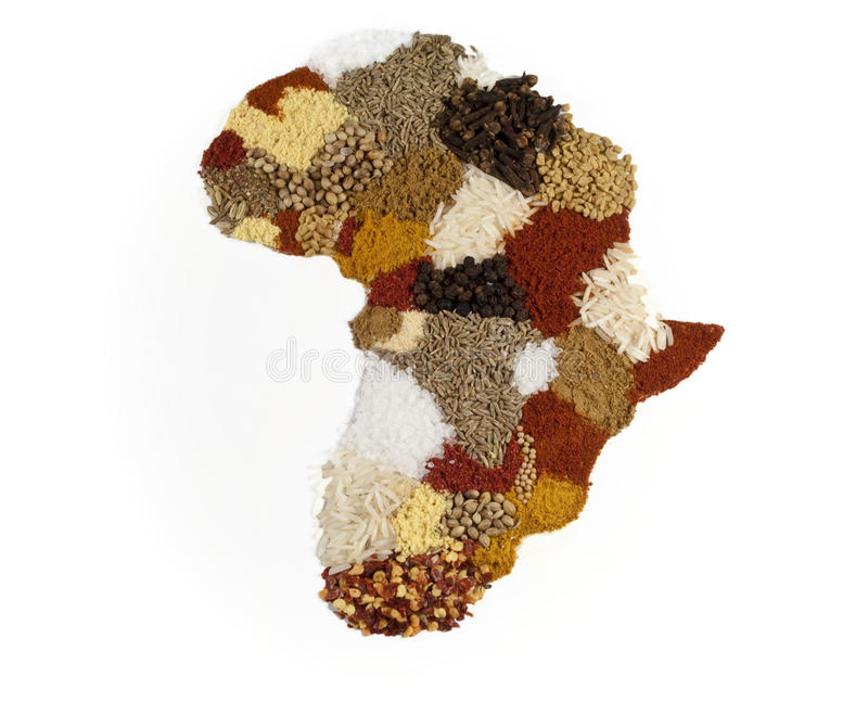 African Continent Spice Map royalty free stock photo