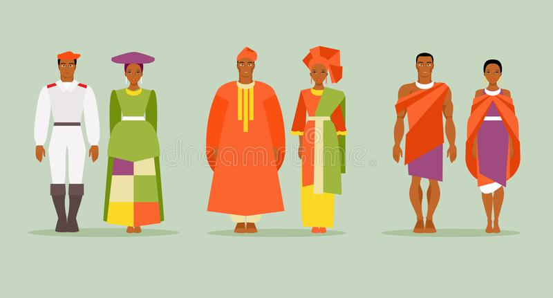 African costumes. Set of men in women in traditional African costumes. National dress of Namibia, South Africa and Kenya. Vector illustration royalty free illustration