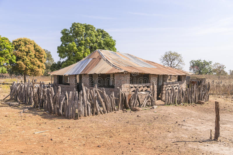 African cottage. In the village, Gambia royalty free stock photo