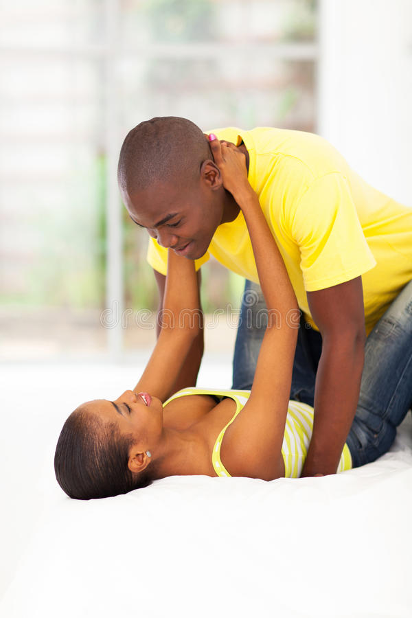 Download African couple in bed stock image. Image of black, flirt - 30492919