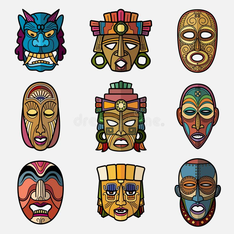 Free African Craft Voodoo Tribal Mask And Inca South American Culture Totem Royalty Free Stock Photo - 100586355