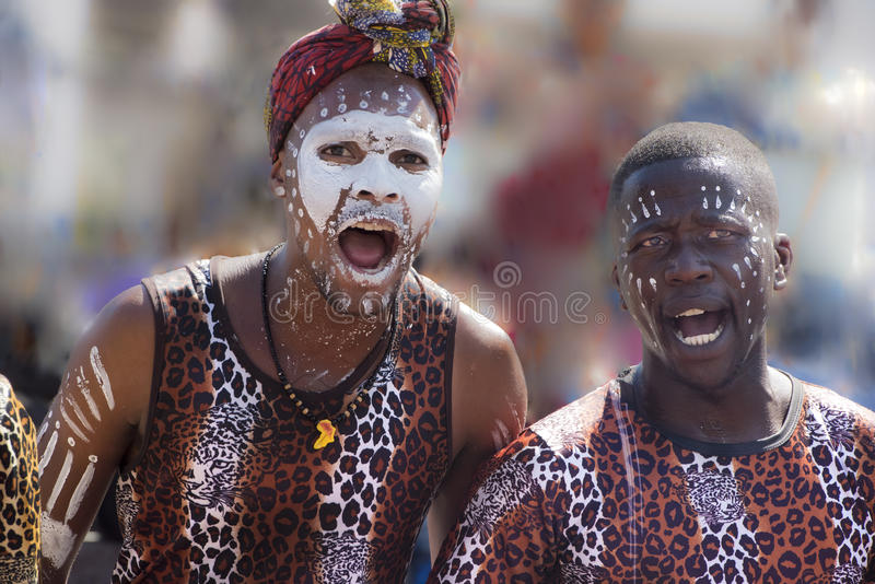 African Dancers, African band, singing and dancing. African young singers and dancers in Cape Town royalty free stock photo