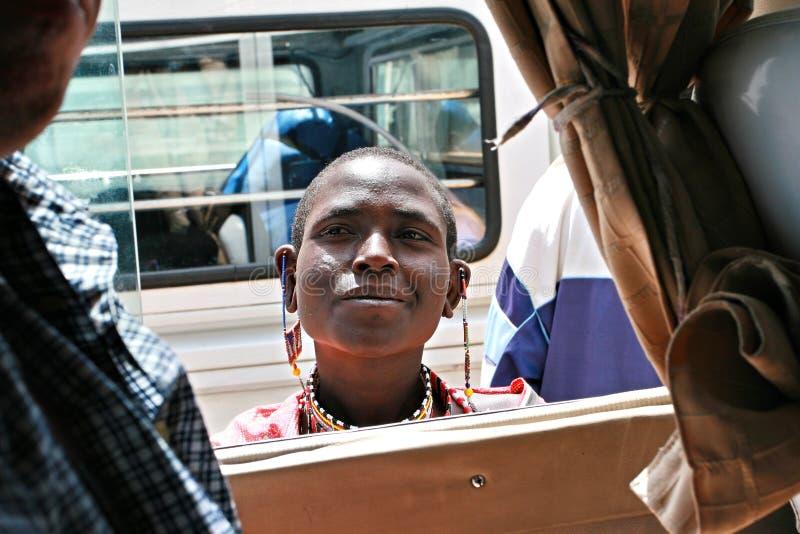 African dark-skin woman, Masai tribe. stock image