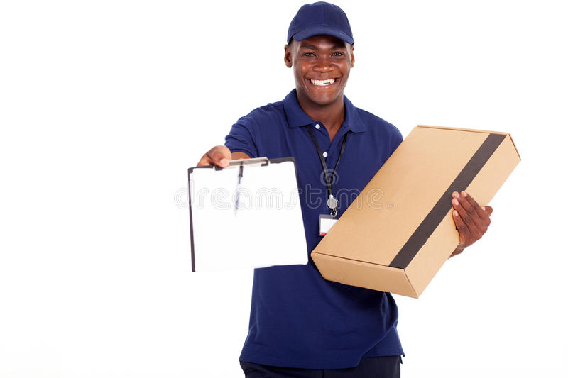 African delivery man stock images
