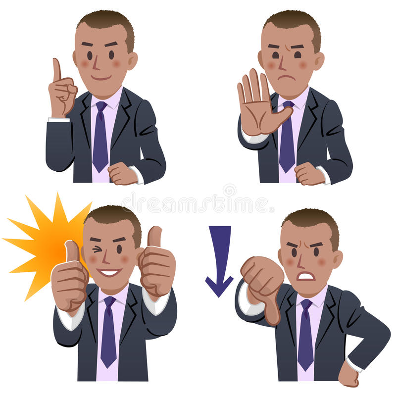 African businessman expressions vector illustration