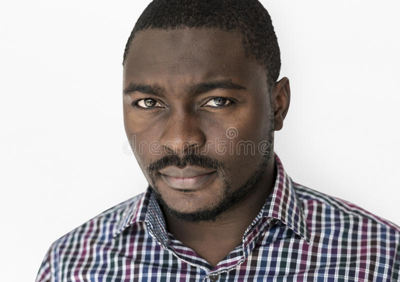 African Descent Man Focused Serious royalty free stock image