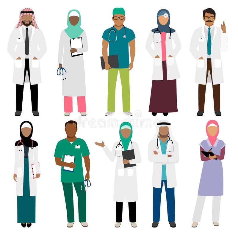 African doctor and arab nurse characters stock illustration