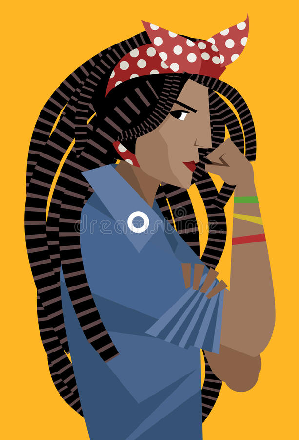 African dreadlocks feminist woman holding her arm royalty free illustration