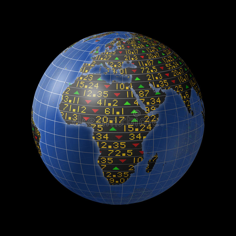 African economies in stock market tickers on globe royalty free illustration