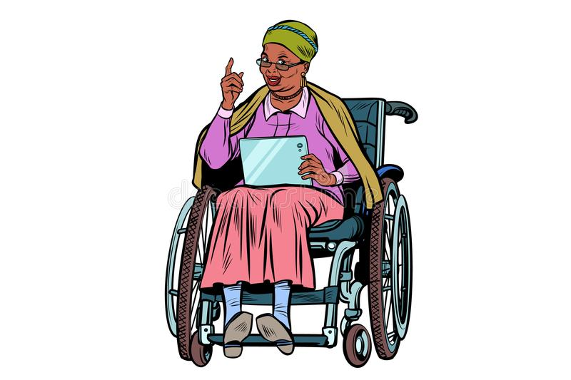 African elderly woman disabled person in a wheelchair, isolate. African elderly woman disabled person in a wheelchair, gadget tablet. isolate on white background stock illustration