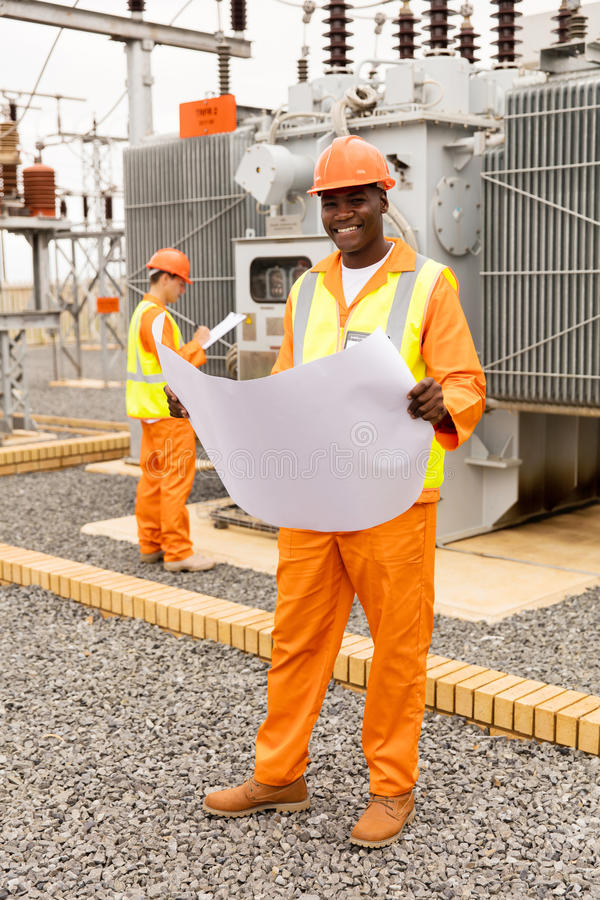 African electric engineer blueprint royalty free stock images