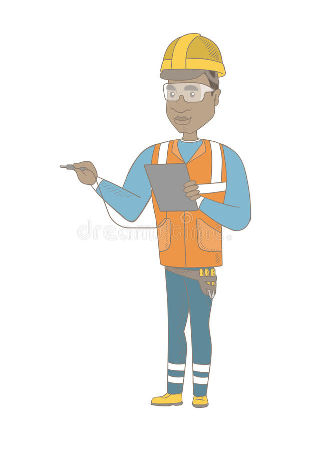 African electrician with electrical equipment. Young african electrician in hard hat measuring the voltage output. Electrician holding equipment for measuring royalty free illustration