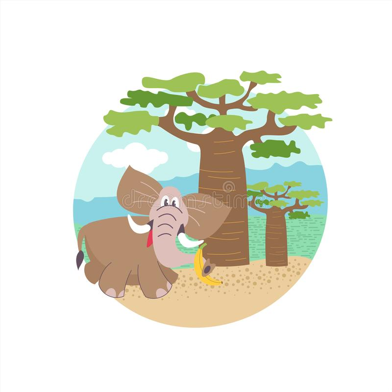 Africa African Elephant Under A Banana Tree Vector Illustration In Cartoon Style Stock Vector Illustration Of Landscape Happy 122007178 Illustration of the landscape of africa with a cute silhouette of a giraffe and african trees near the water with reflection. dreamstime com