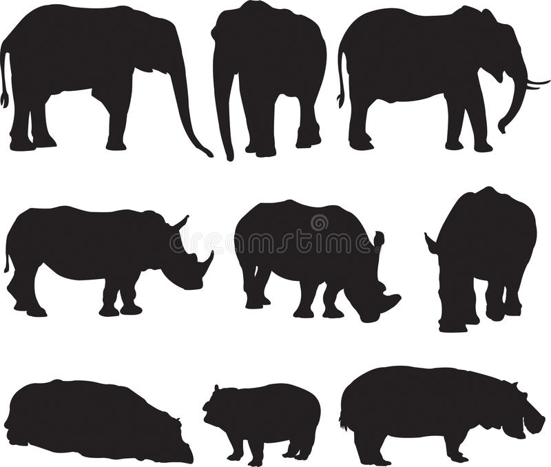 African elephant,white rhinoceros and hippo silhouette contour stock image