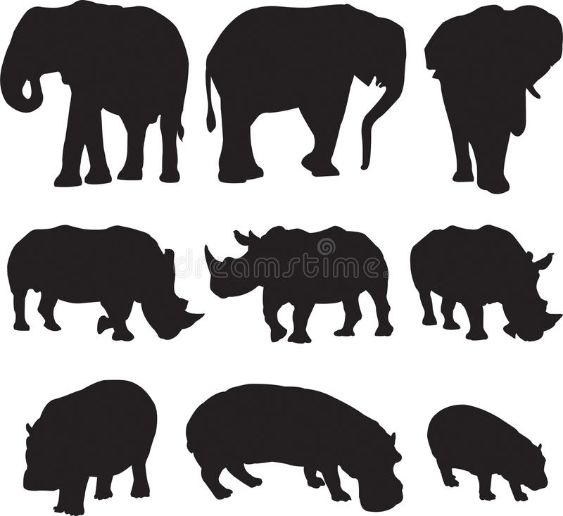 African elephant,white rhinoceros and hippo silhouette contour royalty free stock photography
