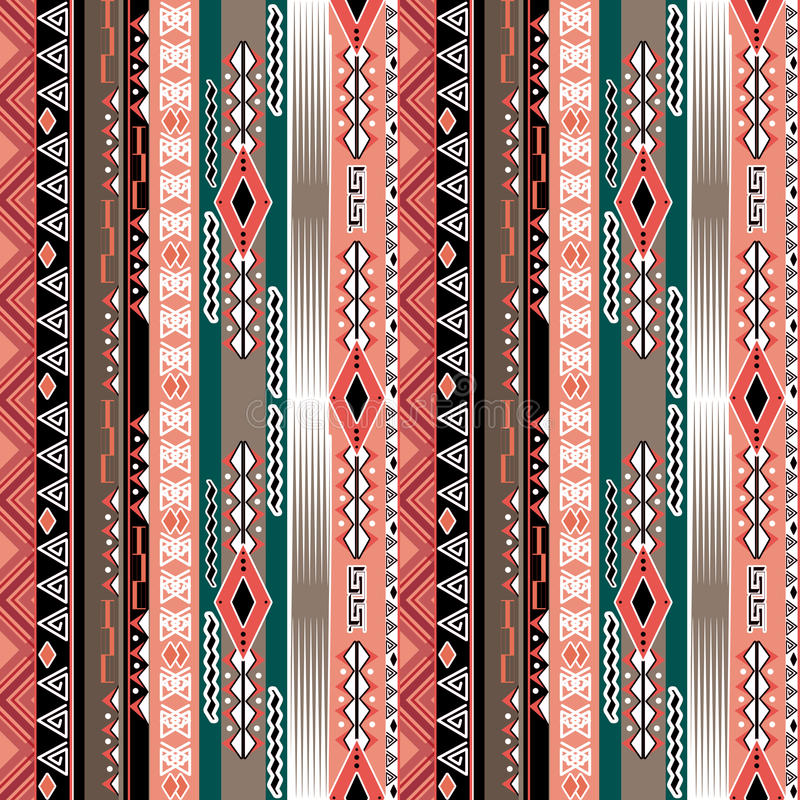 African ethno abstract seamless tribal pattern with decorative f. Olk elements background stock illustration
