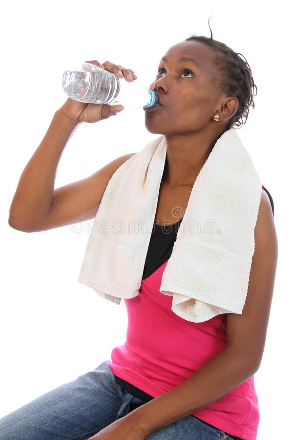 African Exercise Girl Drinking Water Royalty Free Stock Photography