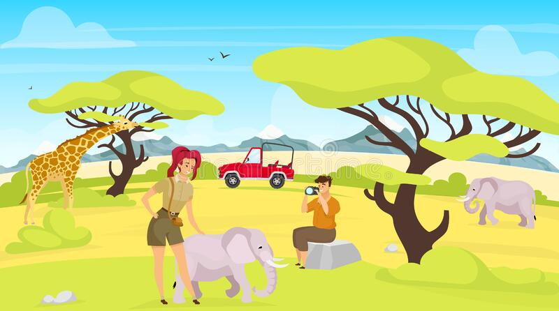 African expedition flat vector illustration. Giraffes and elephants in savannah. Woman and man photographing south creatures. Green safari landscape. Animals stock illustration